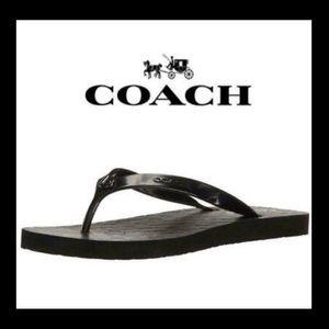 💙NWT💙COACH solid black flip flops